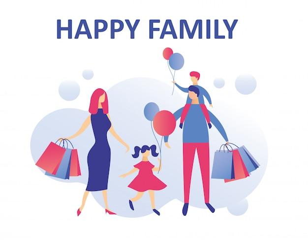 Família feliz fazendo compras de férias ou fim de semana