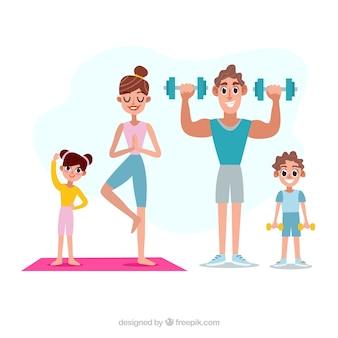 Família feliz fazendo esporte com design plano