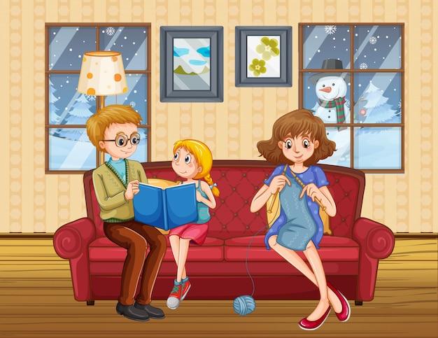 Família feliz fica em casa durante o inverno