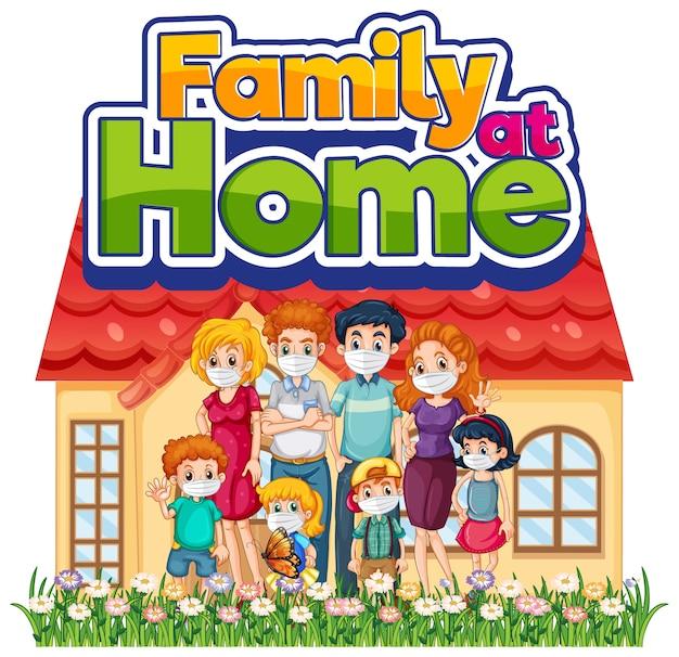 Família feliz ficando em casa