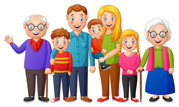 Família feliz. grupo de pessoas em pé. ilustração
