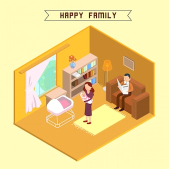 Família feliz interior isométrica