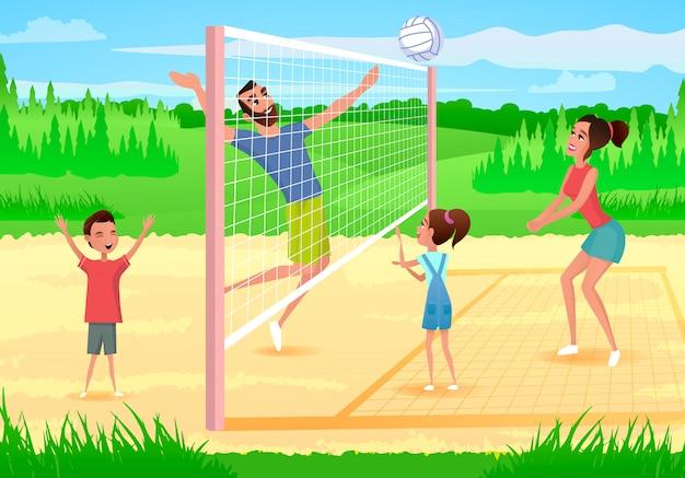 Família feliz jogando esportes no vetor de desenhos animados do parque