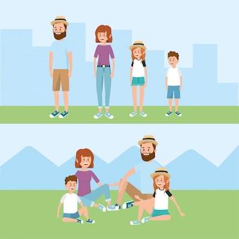 Família feliz junto com penteado e roupas