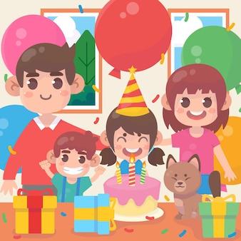 Família feliz juntos comemoram um aniversário com balões e bolo de presentes