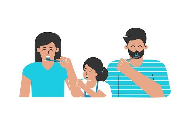 Família feliz limpa os dentes com escovas de dente. cuidados de saúde e higiene oral