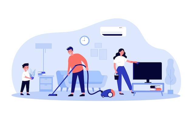 Família feliz, limpando a casa juntos