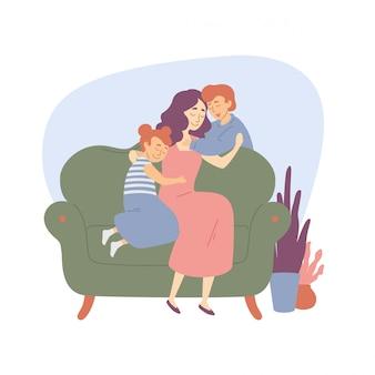 Família feliz, mãe abraça crianças