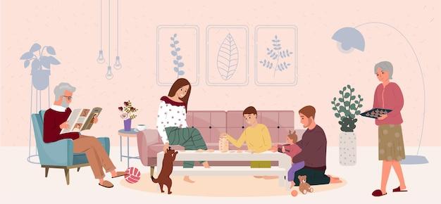Família feliz, mãe, pai, avós sentados à mesa e jogando jogos de tabuleiro