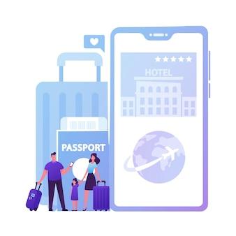 Família feliz mãe, pai e filha personagens reserva de ingressos e hotel usando aplicativo móvel online para viajantes.