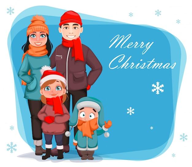 Família feliz, mãe, pai e filhos cartão de saudação de natal