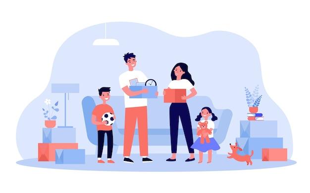Família feliz mudando-se para a nova ilustração de casa ou apartamento. desenho animado jovem mãe, pai e filhos segurando caixas com coisas. interior e compra de novo conceito de casa