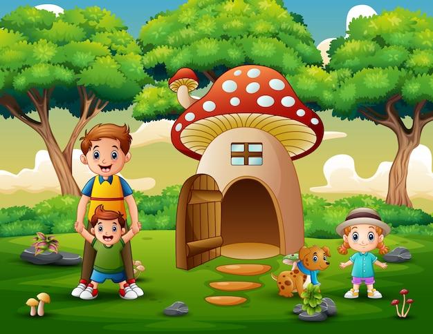 Família feliz na casa da fantasia de cogumelo