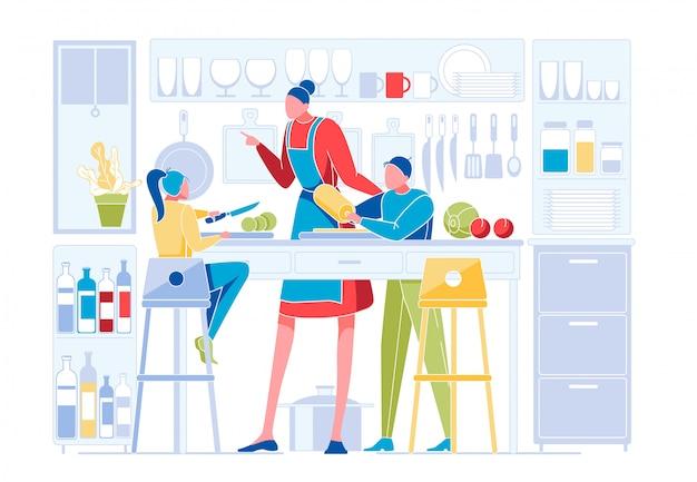 Família feliz na cozinha. mãe ensinando crianças
