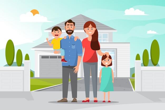 Família feliz na frente da casa, pai mãe, filha e filho