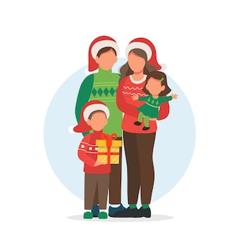 Família feliz na ilustração de natal