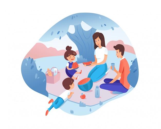 Família feliz na ilustração de piquenique, jovens pais com filhos descansam perto do rio, crianças comendo personagens de desenhos animados de melancia, mãe, pai passando um tempo juntos, atividades ao ar livre