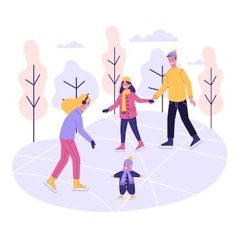 Família feliz na pista de gelo. patinação de inverno, atividade ao ar livre. pessoas com crianças. ilustração