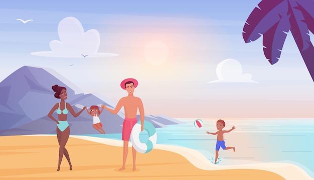 Família feliz na praia do mar se divertindo juntos nas férias de verão
