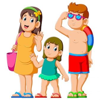 Família feliz nas férias de verão