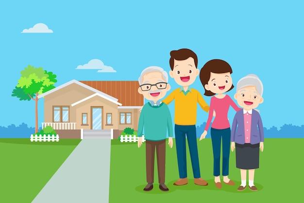 Família feliz no fundo de sua casa pai, mãe, filho e filha juntos ao ar livre