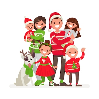 Familia feliz no natal