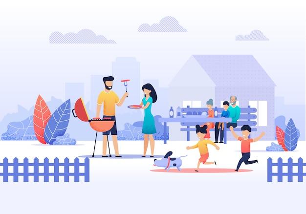 Família feliz no piquenique em casa ilustração vetorial