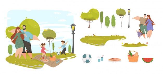 Família feliz no piquenique no conjunto de elementos de design do parque