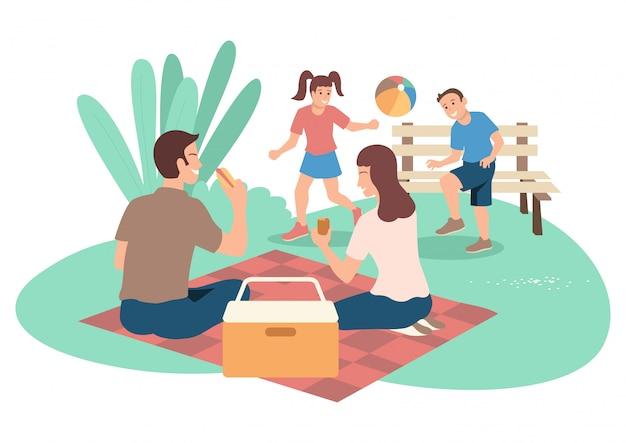 Família feliz no piquenique