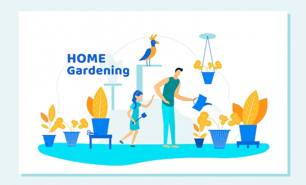 Família feliz pai e filha de jardinagem em casa