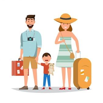 Família feliz. pai, mãe e filho junto com a viagem de verão