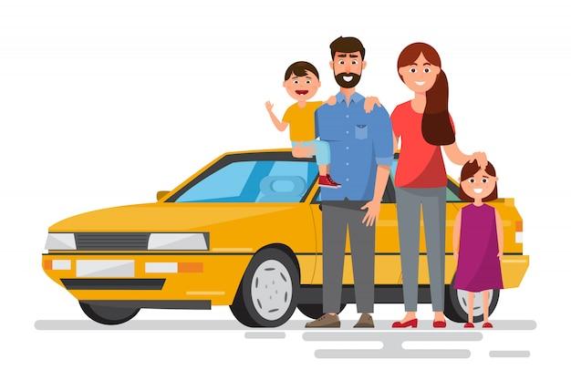 Família feliz. pai, mãe e filhos vão viajar de carro com a natureza