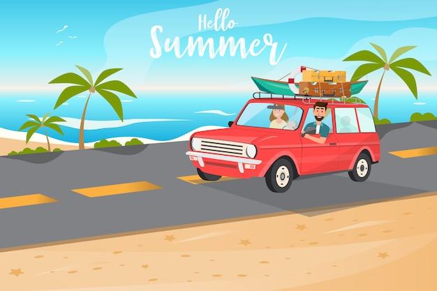 Família feliz. pai, mãe e filhos vão viajar de carro no horário de verão