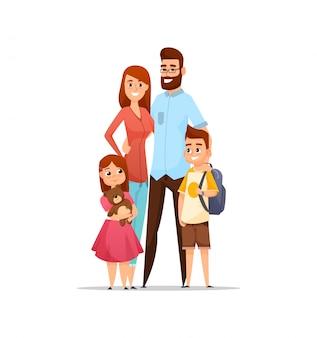 Família feliz. pai, mãe, filho e filha juntos.