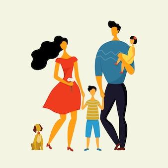 Família feliz, pai, mãe, filho e filha passeando com o cachorro no verão.