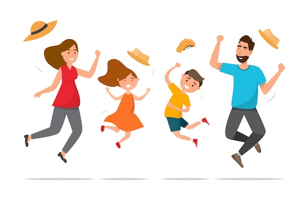 Família feliz. pai, mãe, filho e filha saltam juntos com a viagem de verão