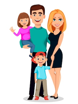 Família feliz. pai, mãe, filho e filha