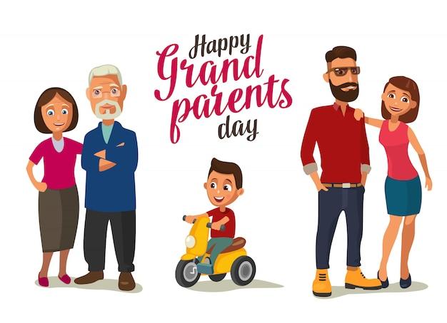 Família feliz. pais, avós e criança em um triciclo.