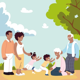 Família feliz, pais, avós e criança