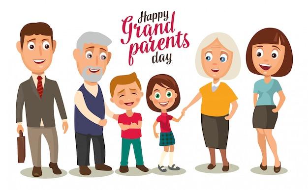 Família feliz. pais, avós e filhos.