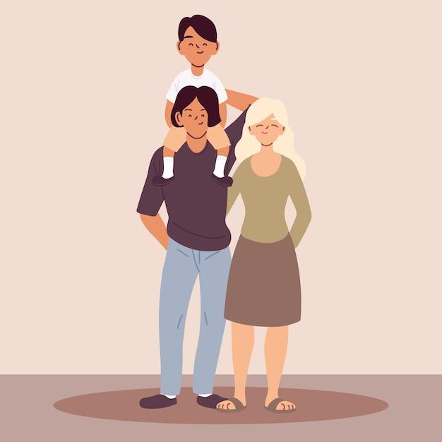 Família feliz, pais com desenho de ilustração do filho