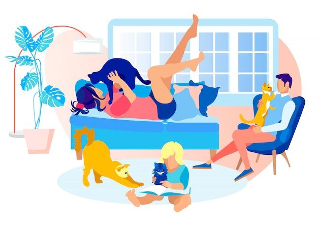 Família feliz, passar tempo com animais de estimação. doce momento