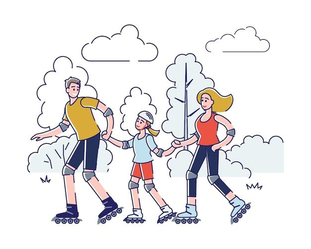 Família feliz patinando no parque