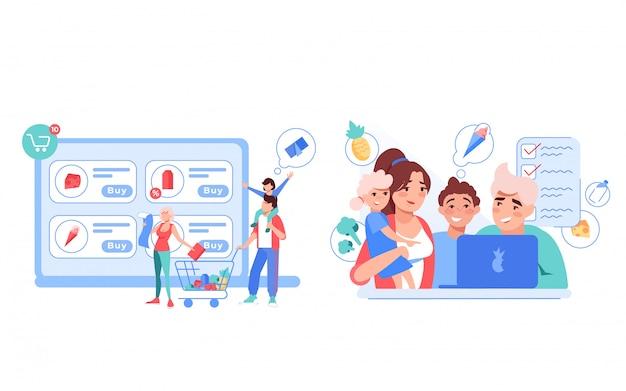 Família feliz pedir comida de supermercado on-line em casa