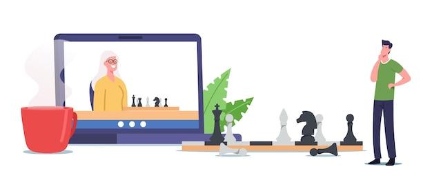 Família feliz personagens mãe sênior e filho adulto jogando xadrez online. homem pensando no enorme tabuleiro de xadrez com figuras, diversão de tempo livre, jogo de lógica, recreação. ilustração em vetor desenho animado