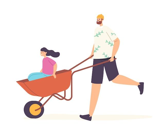 Família feliz personagens pai e filha se divertindo todos juntos, pai montando menina em carrinho de mão. pessoas jardinagem, limpeza de quintal, passam tempo juntos no fim de semana. ilustração em vetor de desenho animado