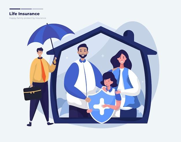Família feliz protegida com ilustração de seguro de vida