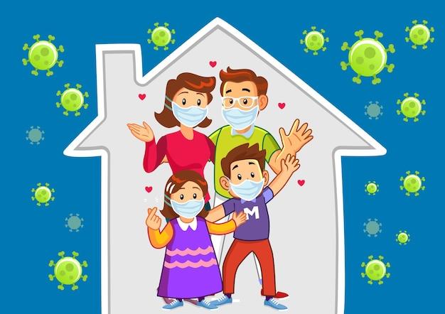 Família feliz protestando para ficar em casa