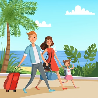 Família feliz que anda na praia.