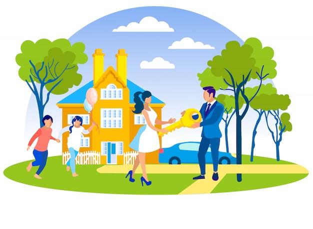 Família feliz que compra a casa luxuosa nova no subúrbio.